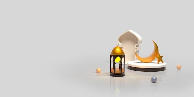 Islamischer dekorationshintergrund des ramadan kareem mit sichelförmiger arabischer laternenkoran