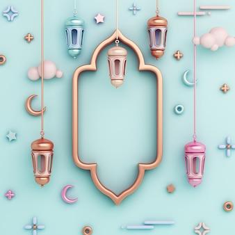 Islamischer dekorationshintergrund mit arabischem fensterrahmenlaternenhalbmondkopierraum