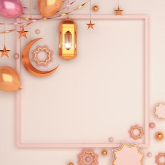 Islamischer dekorationshintergrund mit arabischem laternenhalbmondballonkopierraum