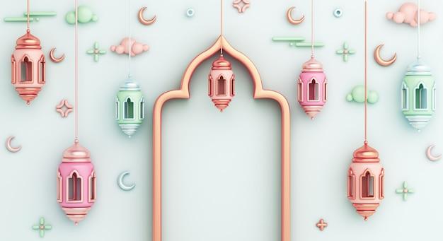 Islamischer dekorationshintergrund mit halbmondkopienraum der arabischen laterne