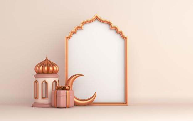 Islamischer dekorationshintergrund mit laternenhalbmond geschenkboxfenster ramadan kareem eid muharram