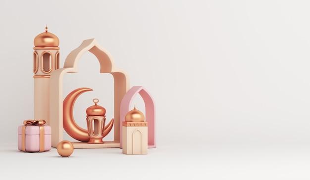 Islamischer dekorationshintergrund mit laternenhalbmondmoschee-geschenkbox-kopienraum