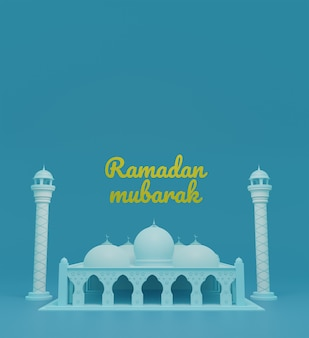 Islamischer hintergrund des 3d mit kuppel und minaretten der moschee im ramadan