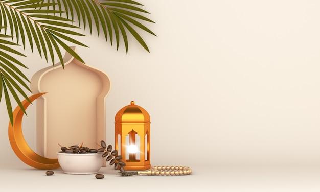 Islamischer hintergrund mit laternen-dattelpalmenblättern und halbmond