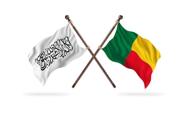Islamisches emirat afghanistan gegen benin zwei flaggen hintergrund