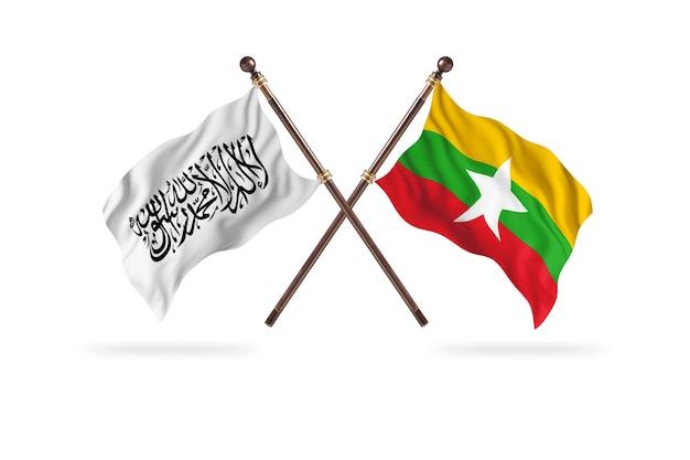 Islamisches emirat afghanistan gegen burma zwei flaggen hintergrund