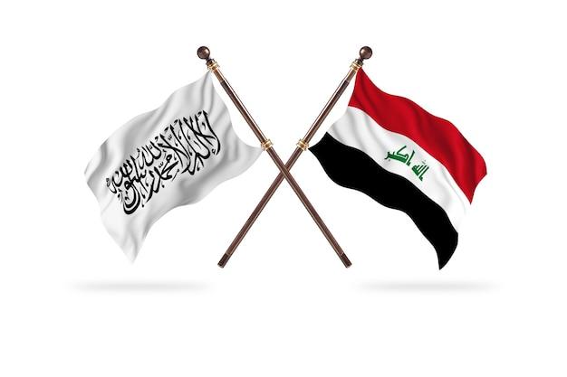Islamisches emirat afghanistan gegen irak zwei flaggen hintergrund