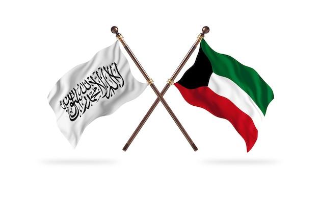 Islamisches emirat afghanistan gegen kuwait zwei flaggen hintergrund