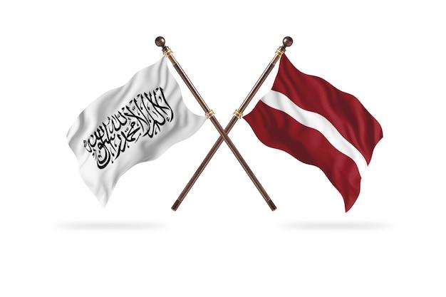 Islamisches emirat afghanistan gegen lettland zwei flaggen hintergrund