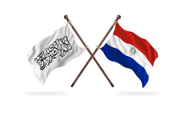 Islamisches emirat afghanistan gegen paraguay zwei flaggen hintergrund