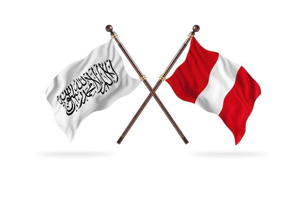 Islamisches emirat afghanistan gegen peru zwei flaggen hintergrund