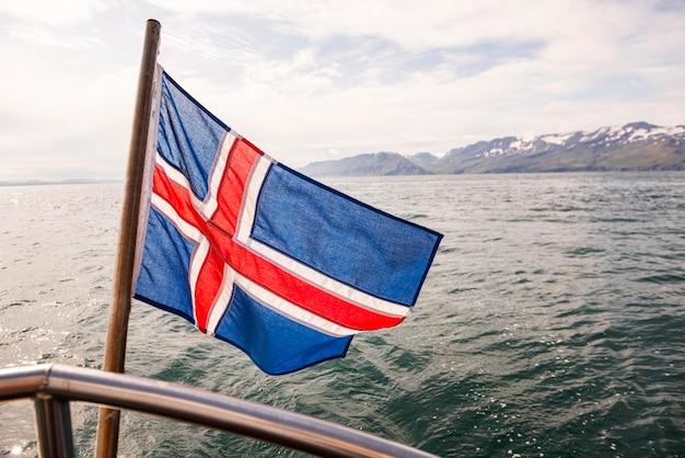 Island-landschaft der schönen flagge