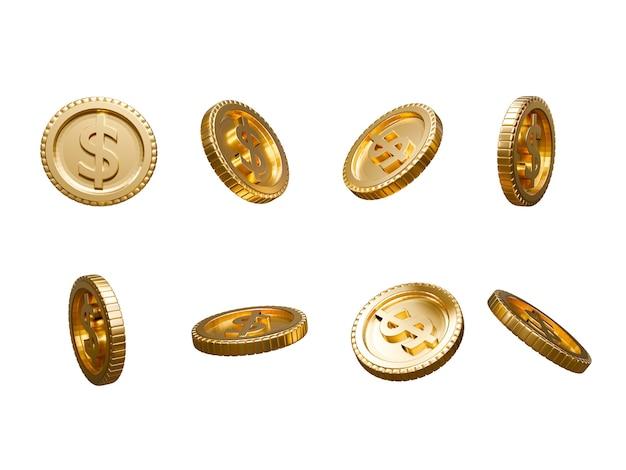 Isolieren sie die sammlungsrotation und den unterschiedlichen winkel der goldenen us-dollar-münzen auf weißem hintergrund für bargeld und geldtransfer, 3d-rendering-konzept.
