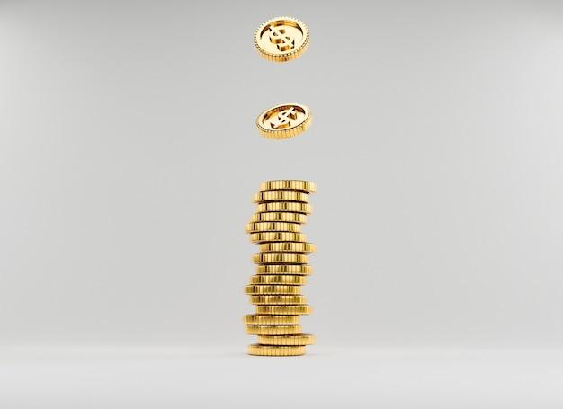 Isolieren sie us-dollar-münzen, die auf goldene münzen fallen, die auf weißem hintergrund stapeln, für investitionen und banking-finanzspareinlagenkonzept durch 3d-rendering.