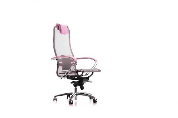 Isoliert auf weiss, modern verstellbar grau perforiert mit rosa armlehnen bürostuhl