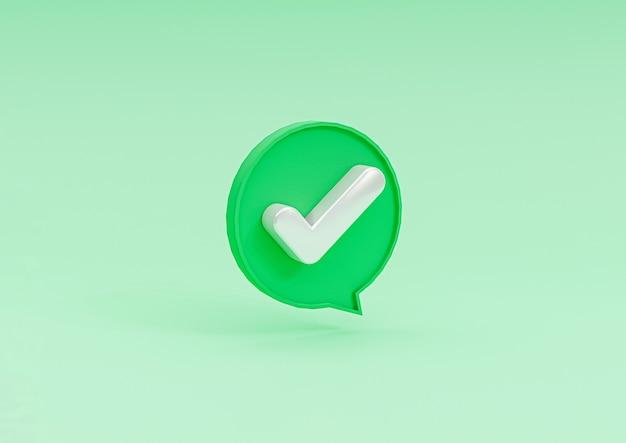 Isoliert vom richtigen symbol in der blasennachricht auf grünem hintergrund des häkchens durch 3d-rendering.