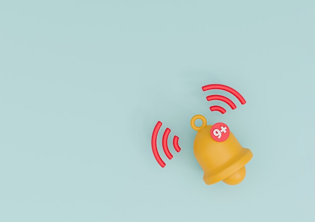 Isoliert von der gelben glocke, die mit neun hinweisen auf blauem hintergrund für smartphone- und anwendungserinnerung durch 3d-rendering-technik klingelt.