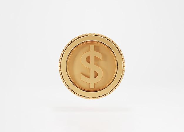 Isoliert von der goldenen us-dollar-münze auf weißem hintergrund durch 3d-rendering-konzept.