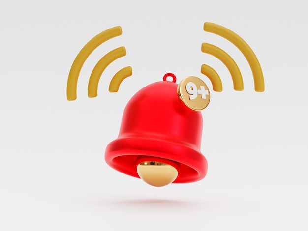 Isoliert von der roten glocke, die benachrichtigung mit neun hinweisen auf weißem hintergrund für smartphone- und anwendungserinnerung durch 3d-rendering-technik klingelt.