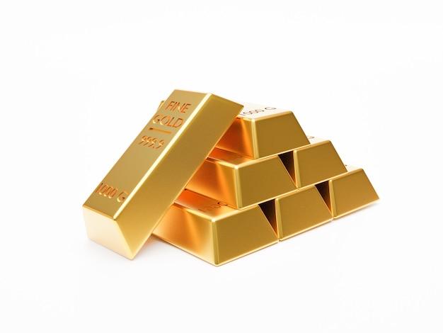 Isoliert von haufen von goldbarren oder goldbarren, die auf weißem hintergrund durch 3d-rendering-technik stapeln.