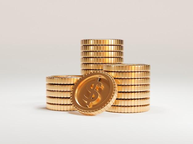 Isoliert von us-dollar-münzen, die auf weißem hintergrund stapeln, 3d übertragen technisches konzept.