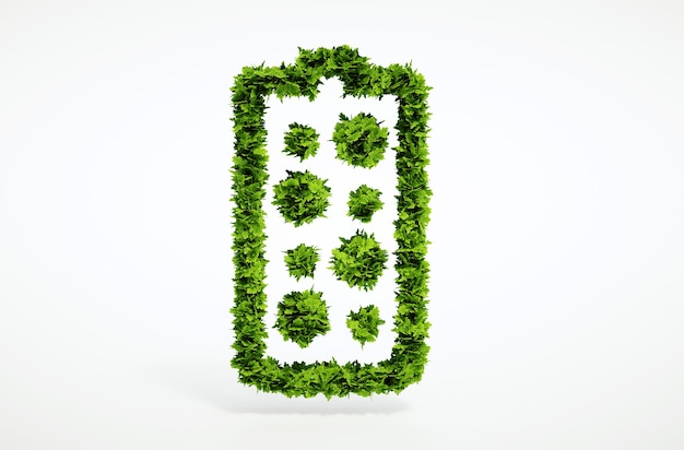 Isolierte 3d-render alternatives neues batteriekonzept mit weißem hintergrund