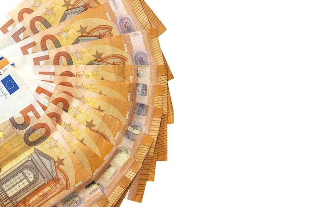 Isolierte 50 euro banknoten weiß isoliert