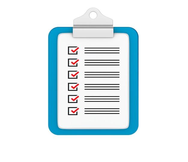 Isolierte checkliste zwischenablage