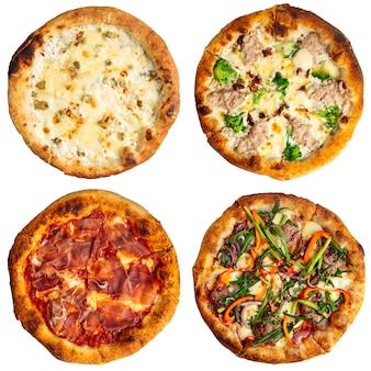 Isolierte collage aus verschiedenen pizzasorten