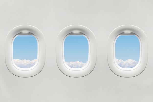 Isolierte flugzeugfenster