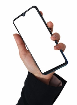 Isolierte frau hand, die das telefon tablet touch computer gadget hält.