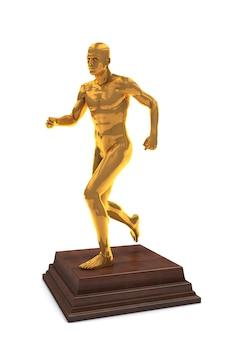 Isolierte goldene preisbelohnungsstatuette des laufenden mannes auf hölzernem podium.