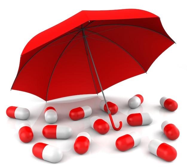 Isolierte medizinkonzept mit rotem regenschirm. 3d-rendering