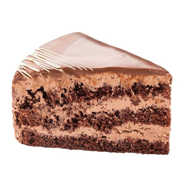 Isolierte scheibe schokoladenkuchen auf der weißen oberfläche