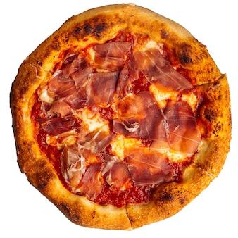 Isolierte schinkenpizza mit tomatensauce