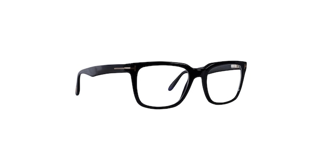 Isolierte schwarze brille, die sehprobleme richtig anpasst