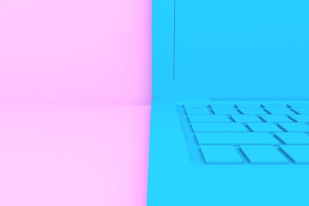 Isolierter 3d-render-laptop. blaue farbe, rosa hintergrund