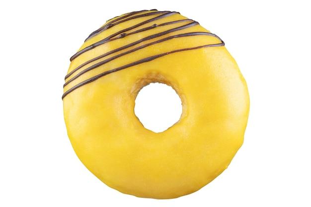 Isolierter donut mit gelber glasur, schokoladenstreifen. auf den stapel geschossen. durch stapeln fotografiert.