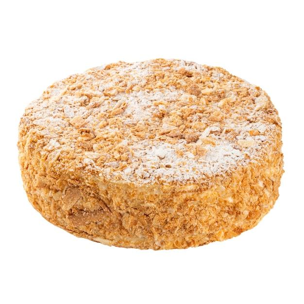 Isolierter napoleon-schichtkuchen mit puderzucker