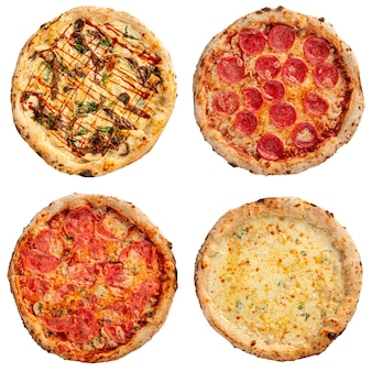 Isolierter satz köstlicher neapolitanischer pizza