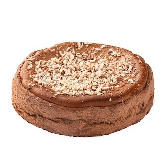 Isolierter spanischer schokoladen-käsekuchen auf der weißen oberfläche