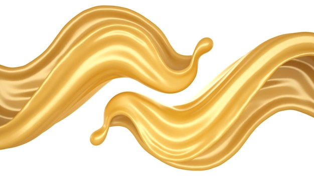 Isolierter spritzer karamell auf weißem hintergrund. 3d-illustration, 3d-rendering.