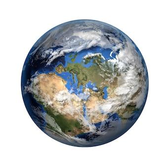 Isoliertes 3d-bild des planeten erde. blick nach europa und afrika.