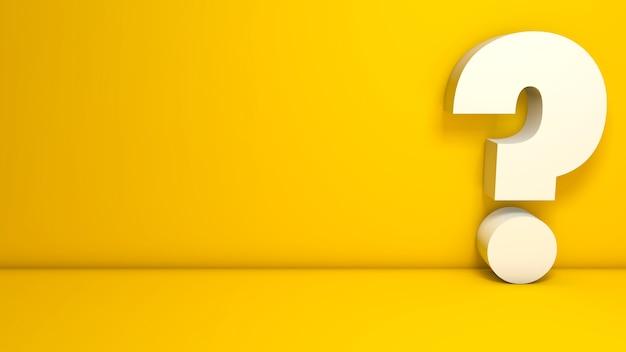 Isoliertes 3d-rendering-fragezeichen auf gelbem hintergrund mit platz für text