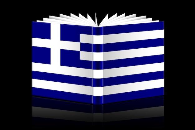 Isoliertes offenes buch mit der flagge von griechenland