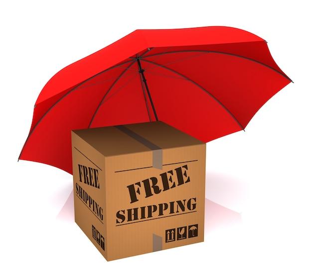 Isoliertes paket kostenloser versand und roter regenschirm. 3d-rendering