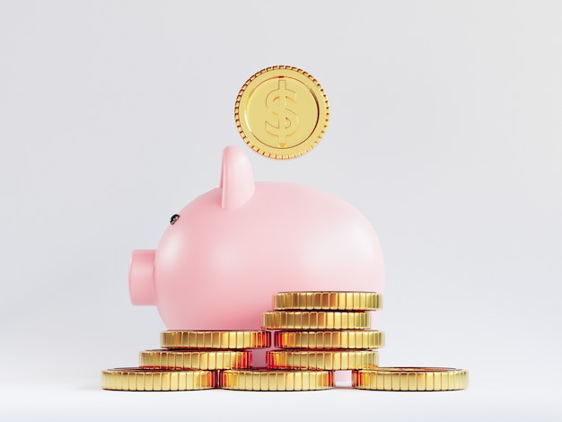 Isolierung von us-dollar-goldmünzen, die mit sparschwein auf weißem hintergrund für investitionen und einlagensparkonzept durch 3d-rendering stapeln.