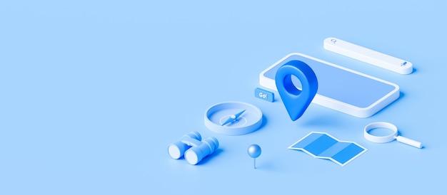 Isometrie des karten- und standortstifts oder des navigationssymbolzeichens auf blauem hintergrund mit suchkonzept. 3d-rendering.