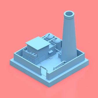 Isometrische fabrik im minimalistischen stil