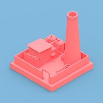 Isometrische karikaturfabrik im stil von minimal. rosafarbenes gebäude auf einem blauen hintergrund. 3d-rendering.